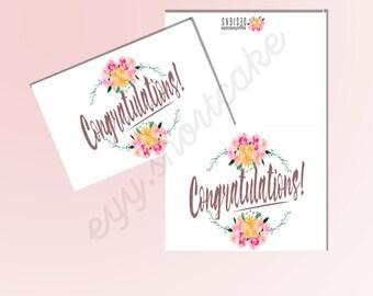 "Printable Greeting Card ""Congratulations"""