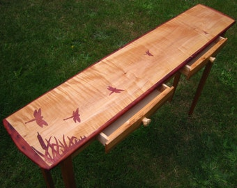 Bigleaf maple entry table with drawers and dragonfly inlay