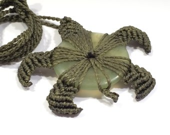 Macrame Turtle Necklace with Jade