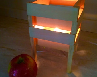 Wooden accent lamp.