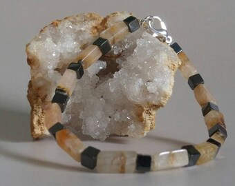 Hemalyke and Cream Quartz Crystal Bracelet