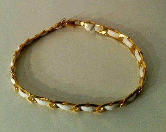 White and gold leather and chain