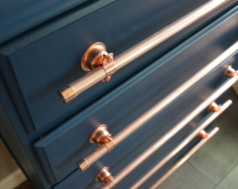 Long Copper Drawer Pull - 16 inches to 24 inches