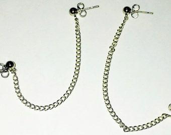 Silver Chain Double-Piercing Earrings