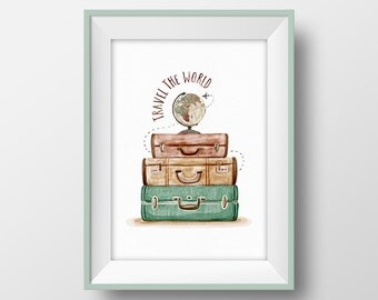 Travel Wall Art, Travel Quote Print, Vintage suitcase printable, Travel poster, Traveler gift, Travel Wall Decor, World Globe Illustration