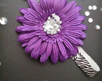 6-12 Months Purple Skull Flower Headband