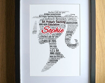 Personalised Graduation Gift for Girls Word Art - Girl - Degree Gift Graduate Congratulations