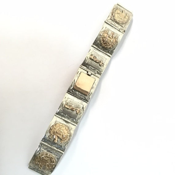 Sterling Silver Gold/Copper Plated Mexican Watch Band Link
