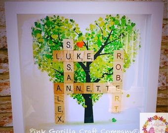 Family Tree Our Family Scrabble Frame / Personalised Family Tree