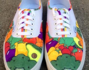 "Custom Vans or Keds Shoes - ""Eat Your Vegetables"" Hand-Drawn Design"