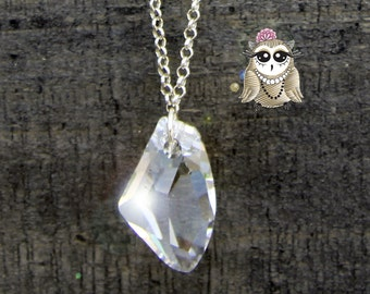 With galactic and chain in silver and black Swarovski Crystal pendant necklace