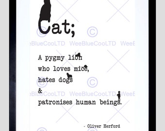 Quote Cat Pygmy Lion Black On White Motivation Typography Art Poster Print FEQU018