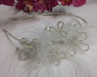 Handmade Bridal Silver, Diamante and  Feather side Tiara