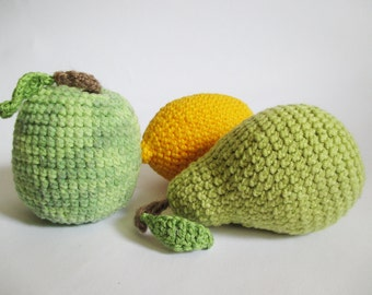 Apple, Lemon and Pear - Hand Knitted Fruit Set, Crochet Play Food, Hand-Knitted Toys, Home Decor, Soft Handmade Toys, Knitted Fruits
