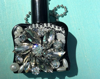 Blue eau de parfum bottle necklace