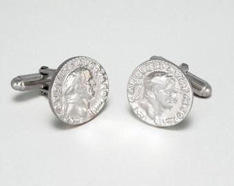 Solid Silver Roman Emperor Polsihed Cuff Links
