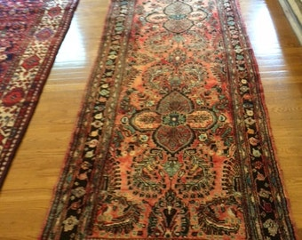 Persian rug runner semi antique 3.4 x 9.9 wool washed clean