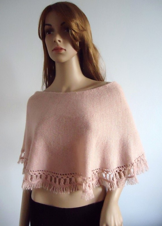 Poncho Wedding cape Wrap short poncho Salmon capelet Light Salmon Bridal knitted cape, 100% hand made, Women Poncho
