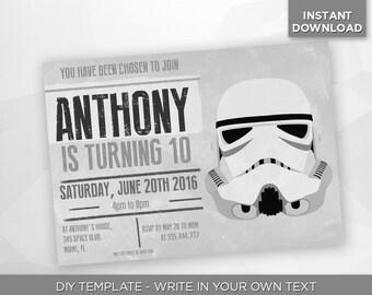 SALE - 80% OFF Star Wars Invitation, Stormtrooper, Birthday Party Invite, Dark Side, Jedi, Sith, Editable Printable Pdf - Instant Download