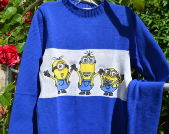 Blue kids sweater with hand painted minions