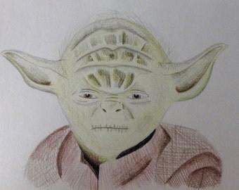 YODA colour pencil drawing