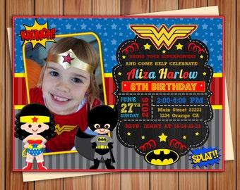 Wonder Girl hero and Bat hero photo invitation, Wonder Girl and Bat hero digital chalkboard invitation, Thank you card free!