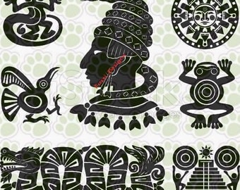 Vector SVG Mayan Aztec pack 10