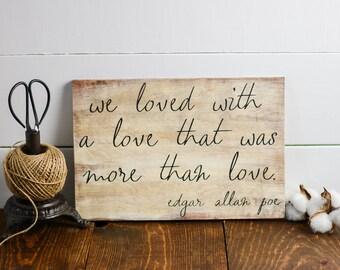 Edgar Allan Poe, Wall Decor, Wooden Signs, 8x12, Library decor, Literary art sign, Illistration, Literary gift