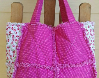 Pink and White Rag Tote - Shabby Chic - Girls Tote - Off to Grandma's Overnight Tote - Handmade