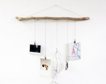Driftwood photos, keys, hanging clips.