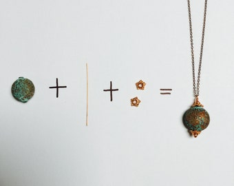 Exotic copper beads with patina - 2 Pieces -  #23