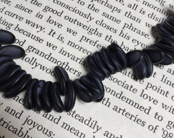 Vintage Curved Lentil Beads in Grey and Black - 44 Pieces - #720