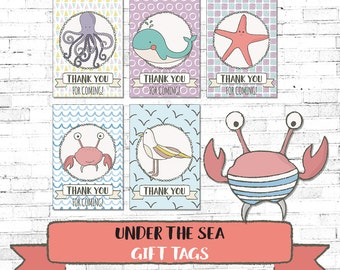 DIY PRINTABLE Under the Sea Party Gift Tags | Birthday Party | Baby Shower Instant Download | Ocean Sea Nautical Party | BSUTS17 | Utsb19