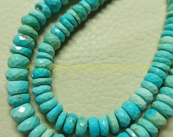 "Natural Arizona Turquoise Rondelle, Sleeping Beauty Turquoise Faceted Rondelle Beads, 5-8 MM Size, 7.50"" Strand, Loose Gemstone Beads 423"