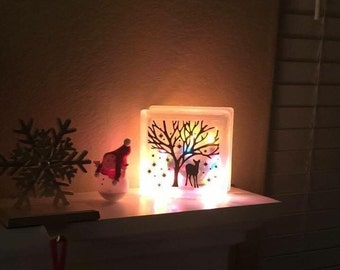 Winter Deer Forest, Lighted and Frosted 6x6 or 8x8 Glass Block