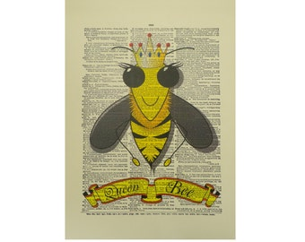 Vintage Inspired Queen Bee Dictionary Page Art Print P014