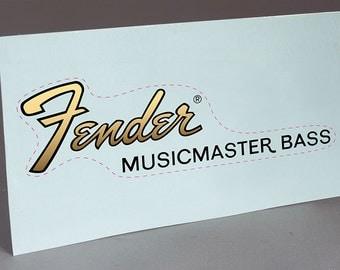 Fender Musicmaster Bass precut water slide decal headstock for restoration