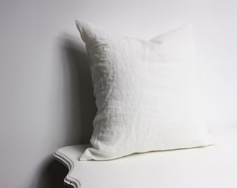Stonewashed  Linen Off White Decorative Pillow Cover, Pillow Covers 20x20, 18x18, 16x16, 24x24