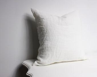 White Linen Pillowcase, Linen White Decorative Pillow Cover, Custom Size Linen Pillow, Handmade Linen Pillow, Linen Pillow with zipper