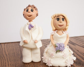 Bride and Groom with Lavender flowers