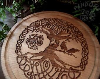 Altar pentacle, Yggdrasil, Odin, Hugin and Munin, Sleipnir