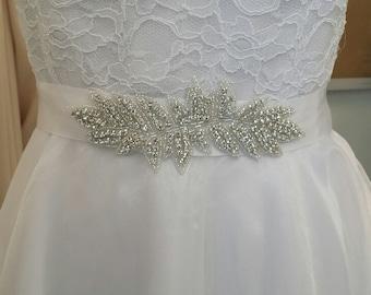 Rhinestone Sash, Bridal Sash Belt, Double Face Satin Ribbon