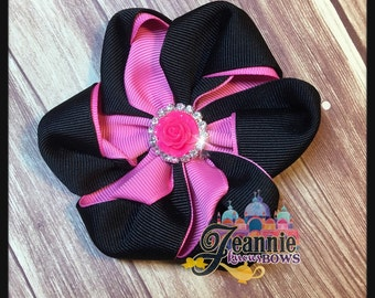 Girl's Bow. Black and Pink Flower Bow