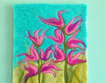 Needle-felted, contemporary wall art. mauve / pink flowers on canvas