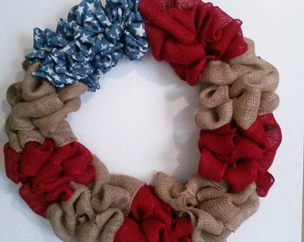 Proud to be an American Burlap Wreath