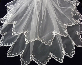 Wedding Veil - Antique/Vintage Style -  Cornely embroidered Nottngham angel lace edge.