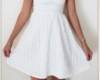 White crochet strapless dress