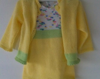 Yellow baby dress with vest