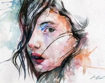 Sorrow Watercolor Painting