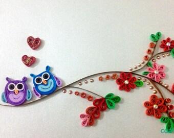 Owls in Love 'Love Birds' (22.5 x 17.5cm Frame)